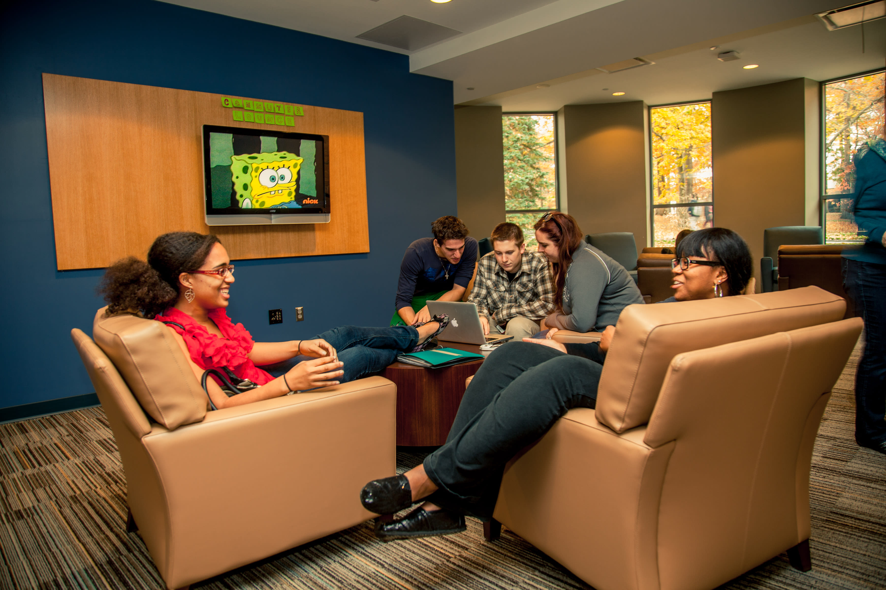 Every residence hall is equipped with lounges and TVs