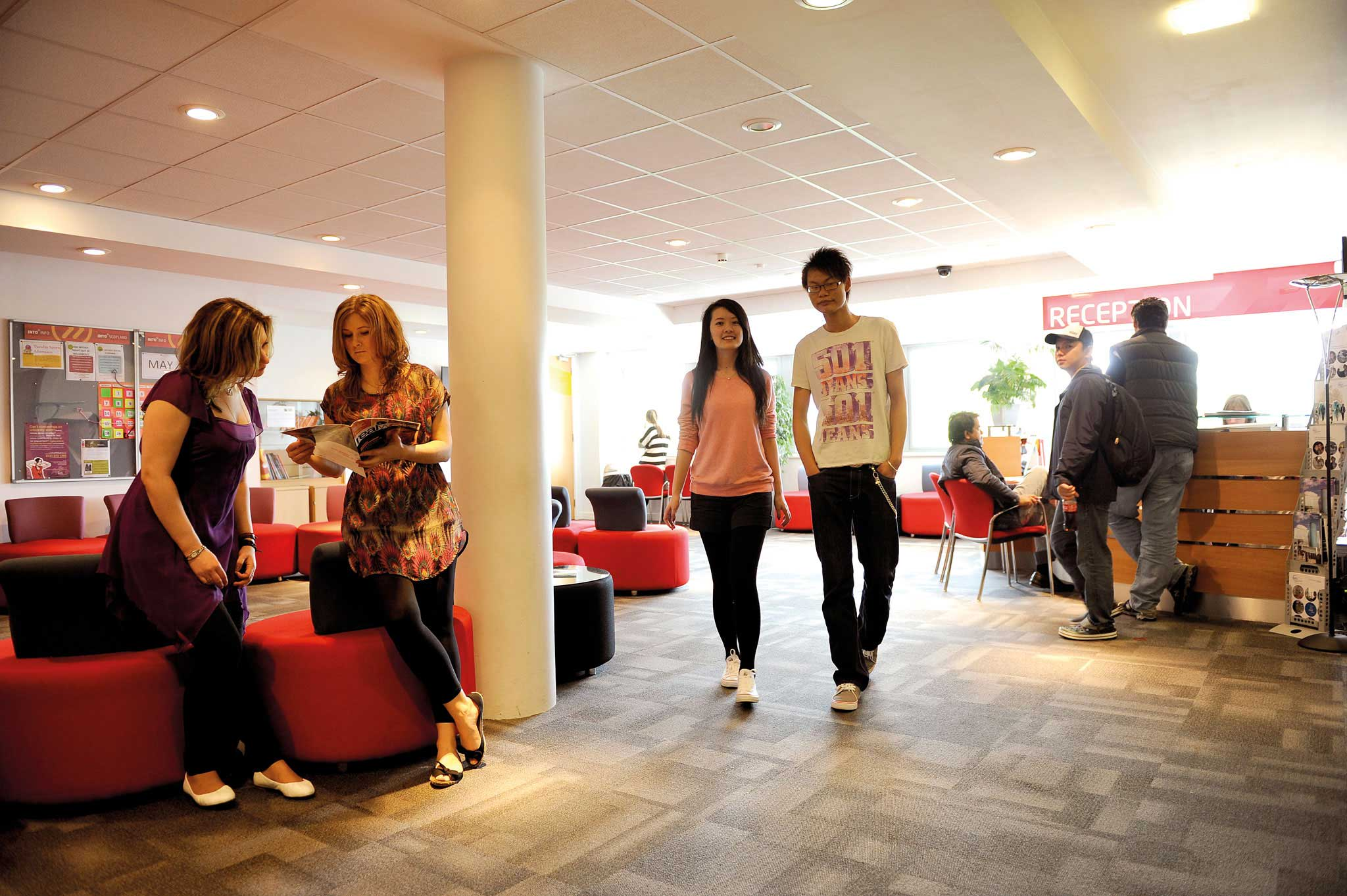 The INTO GCU Centre reception area