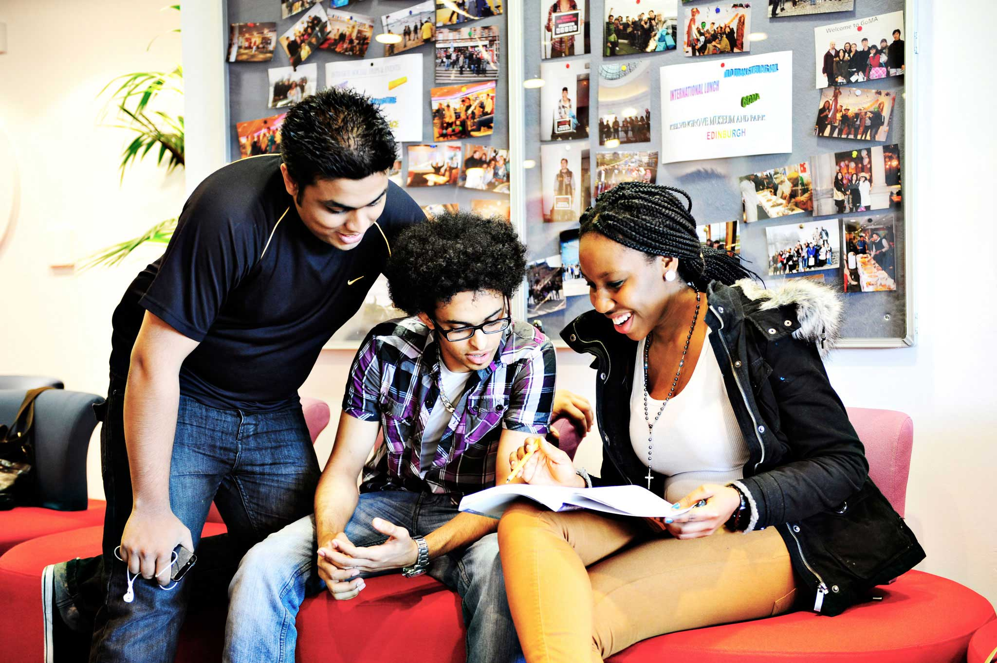 Students working in the INTO GCU Centre