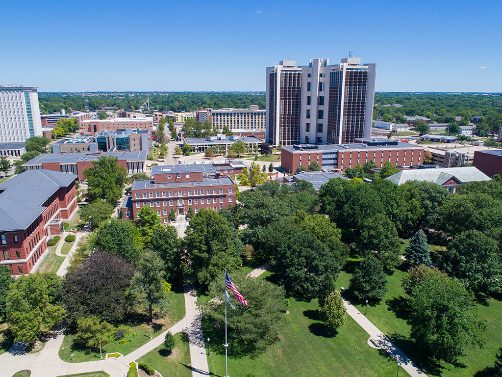 Aerial view of Illinois State University campus