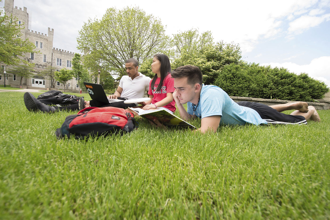Illinois State University group of students studying on grass