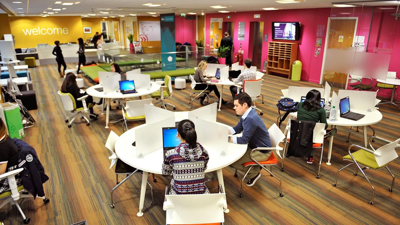Students in the INTO London study centre