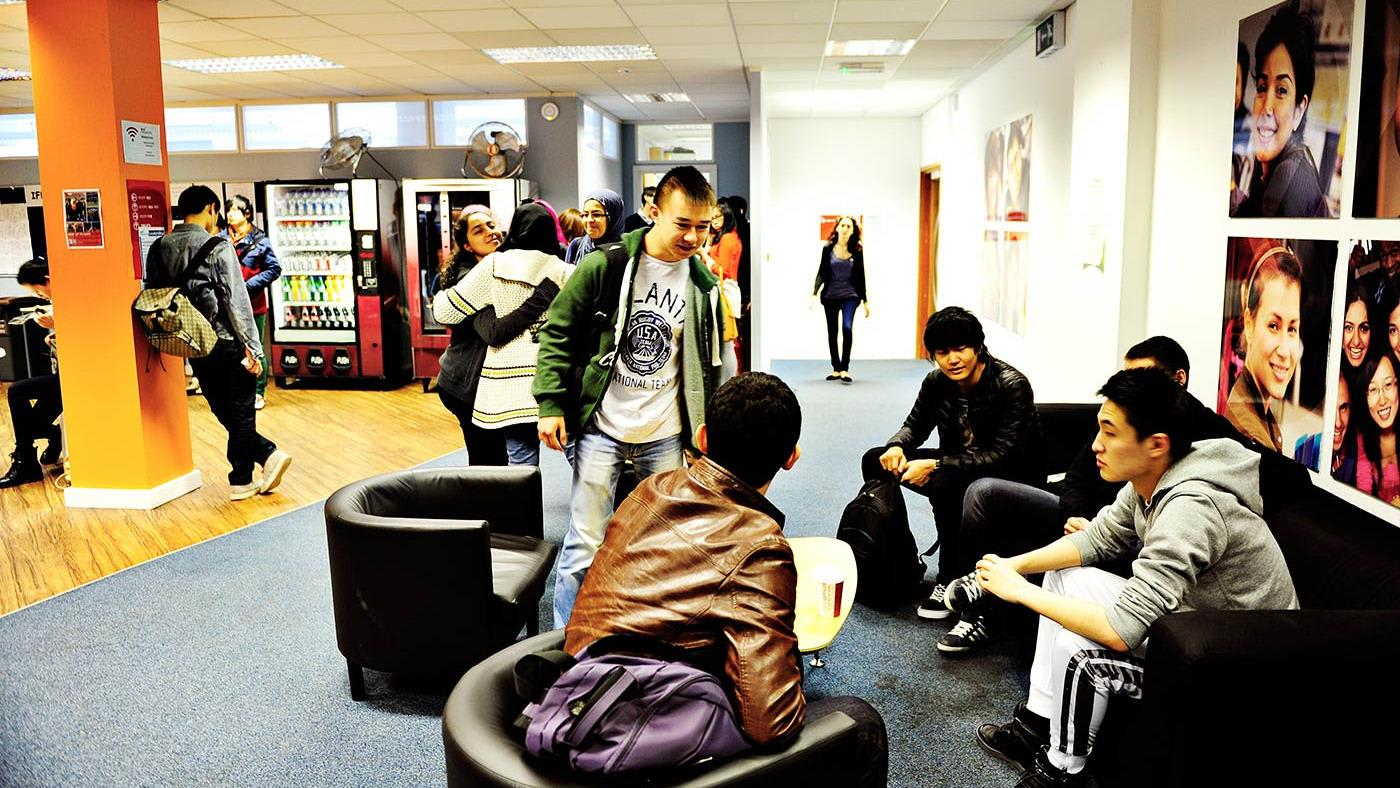 INTO Manchester Study Centre students in break out space