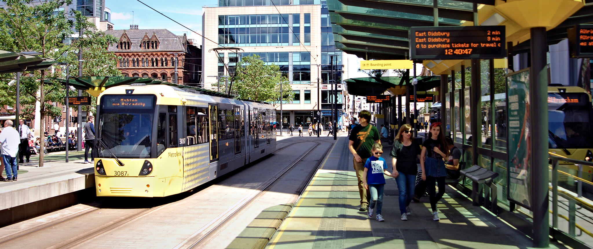 Tram in Manchester City Centre