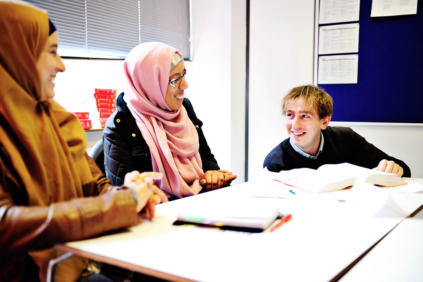 Student discuss progression options at INTO Manchester