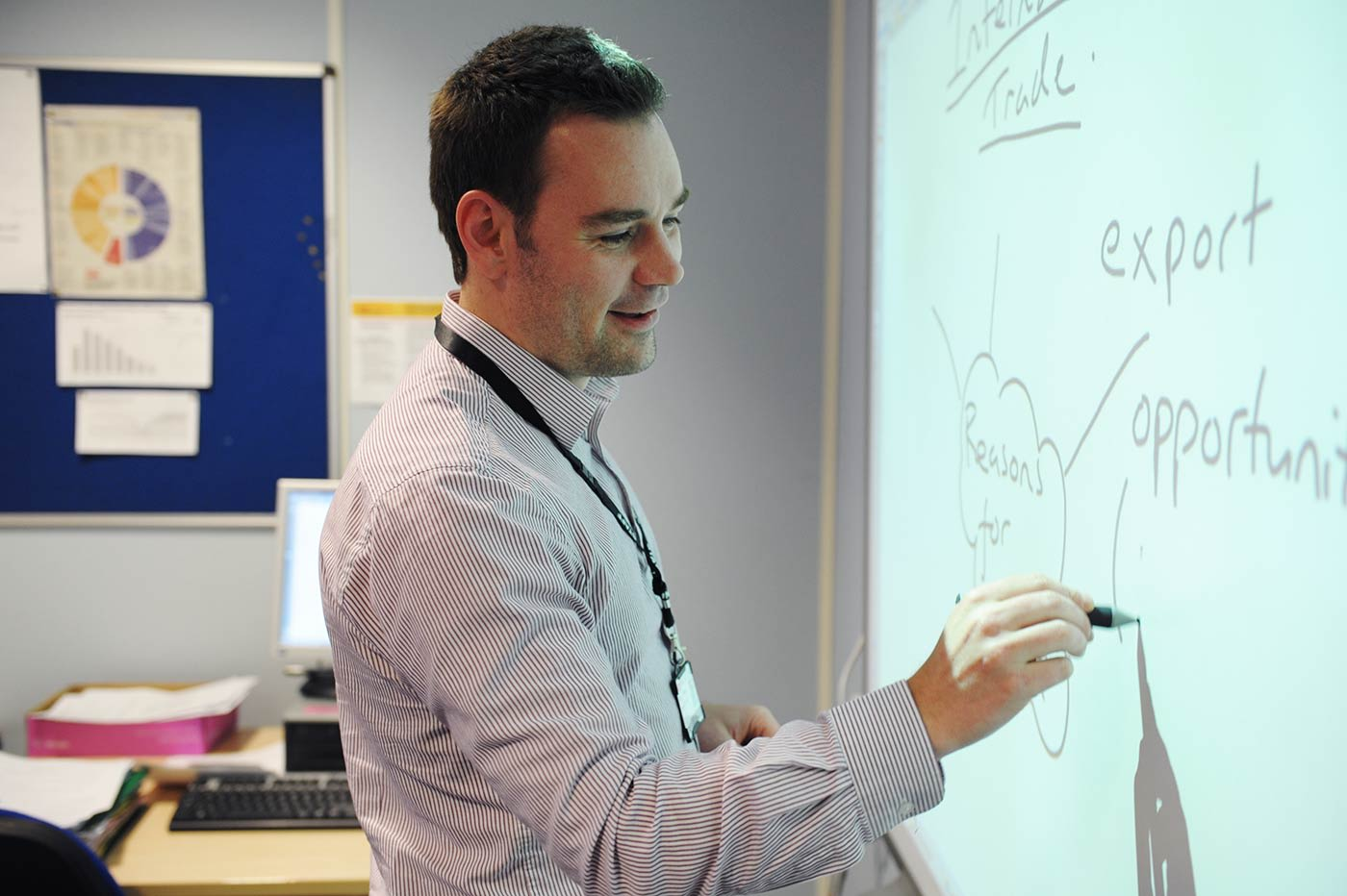 Modern classrooms with interactive learning technologies