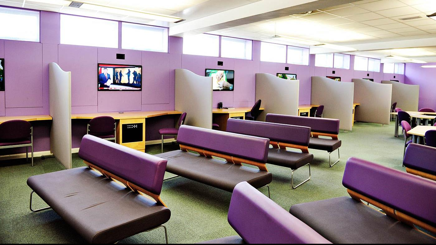 An extensive city campus library open 24/7 in term time