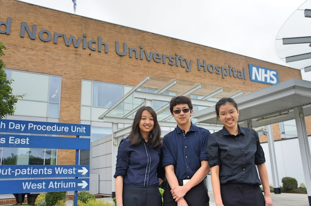 Medical work placements, such as at the Norfolk and Norwich University Hospital