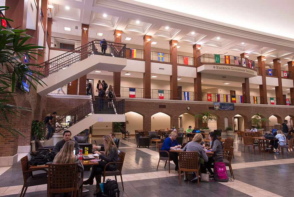 Take a study break in the atrium at Cook Hall.