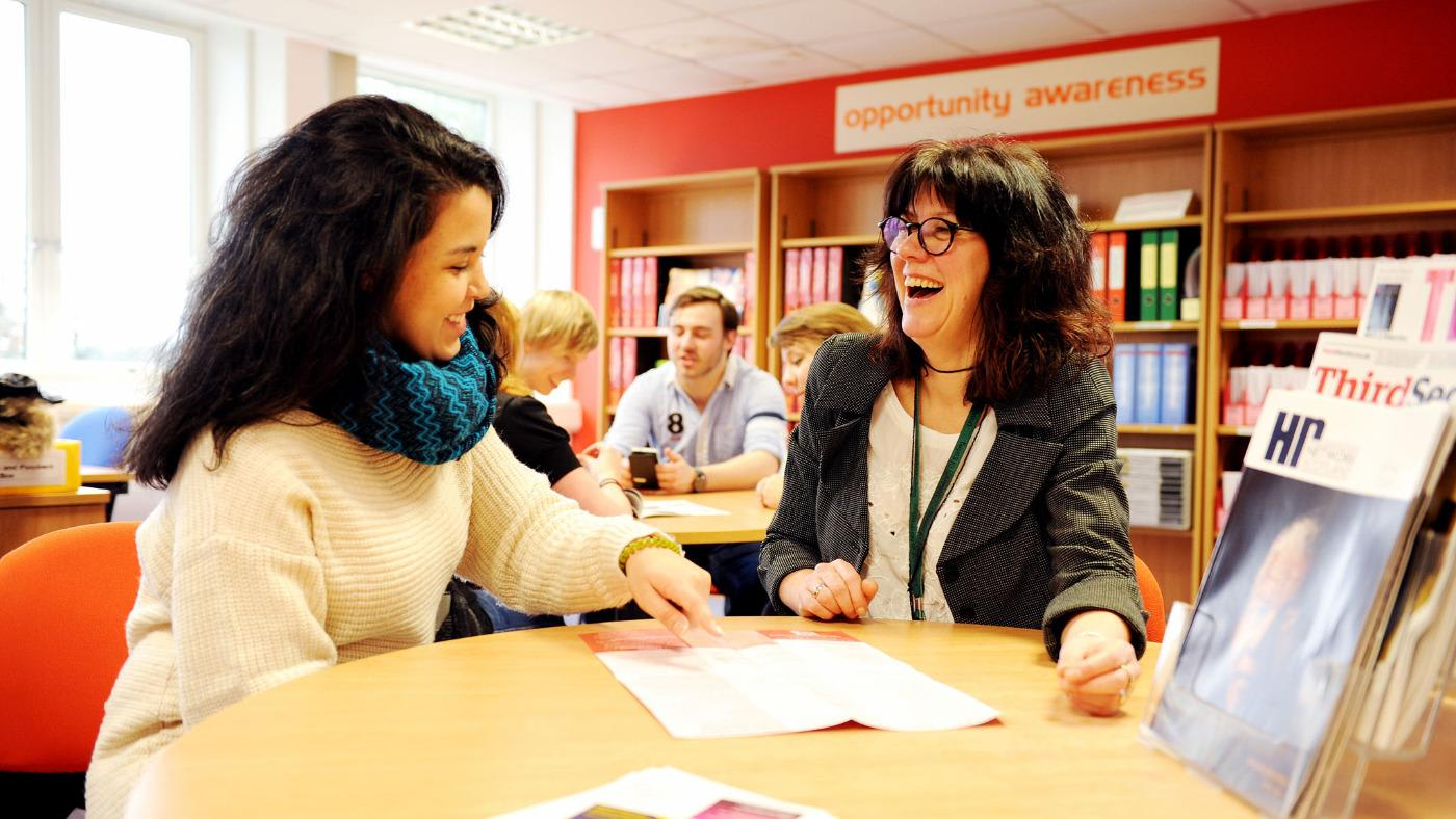 University of Stirling careers advisor helping student