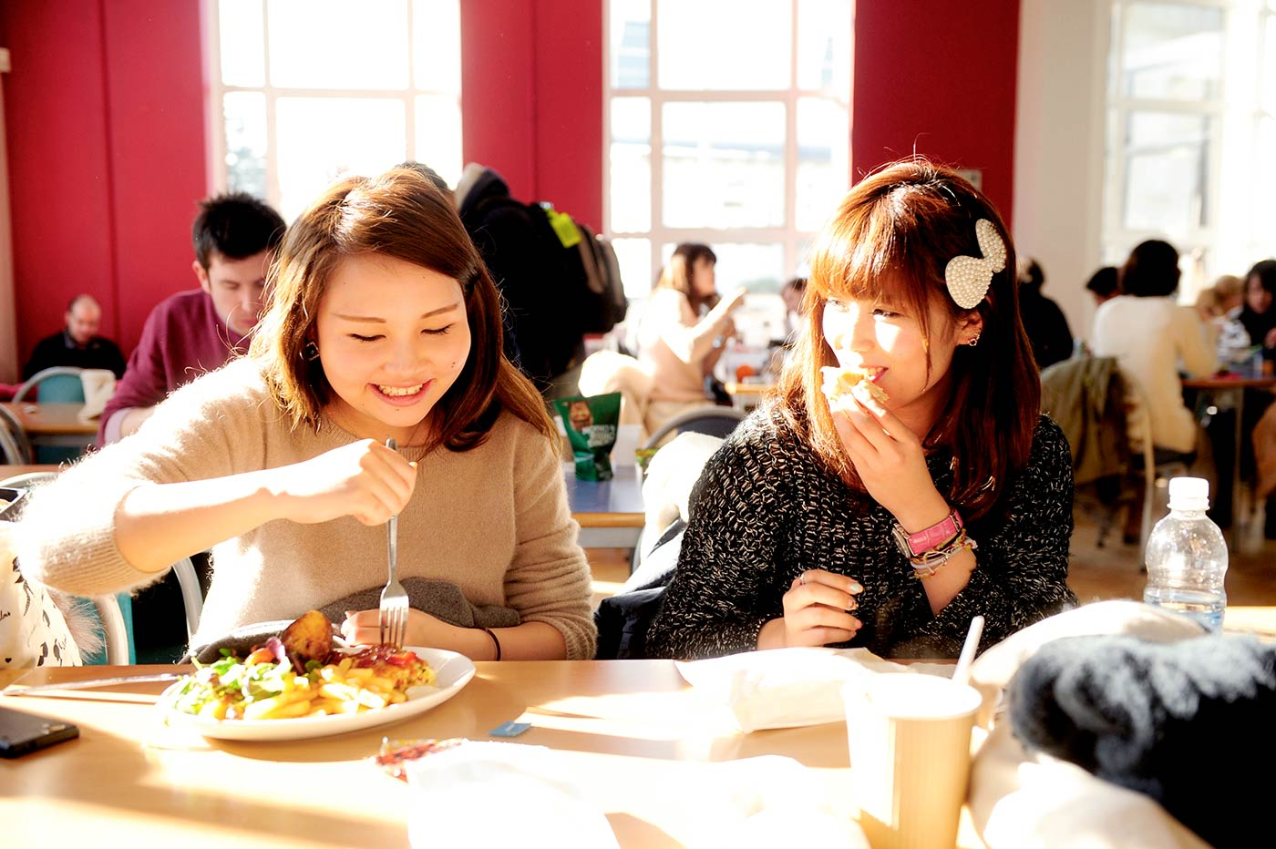Students eating in the refectory