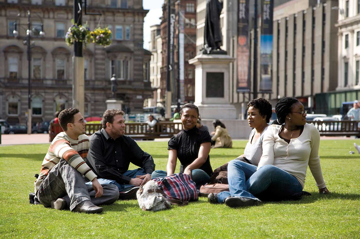International students in Glasgow city centre