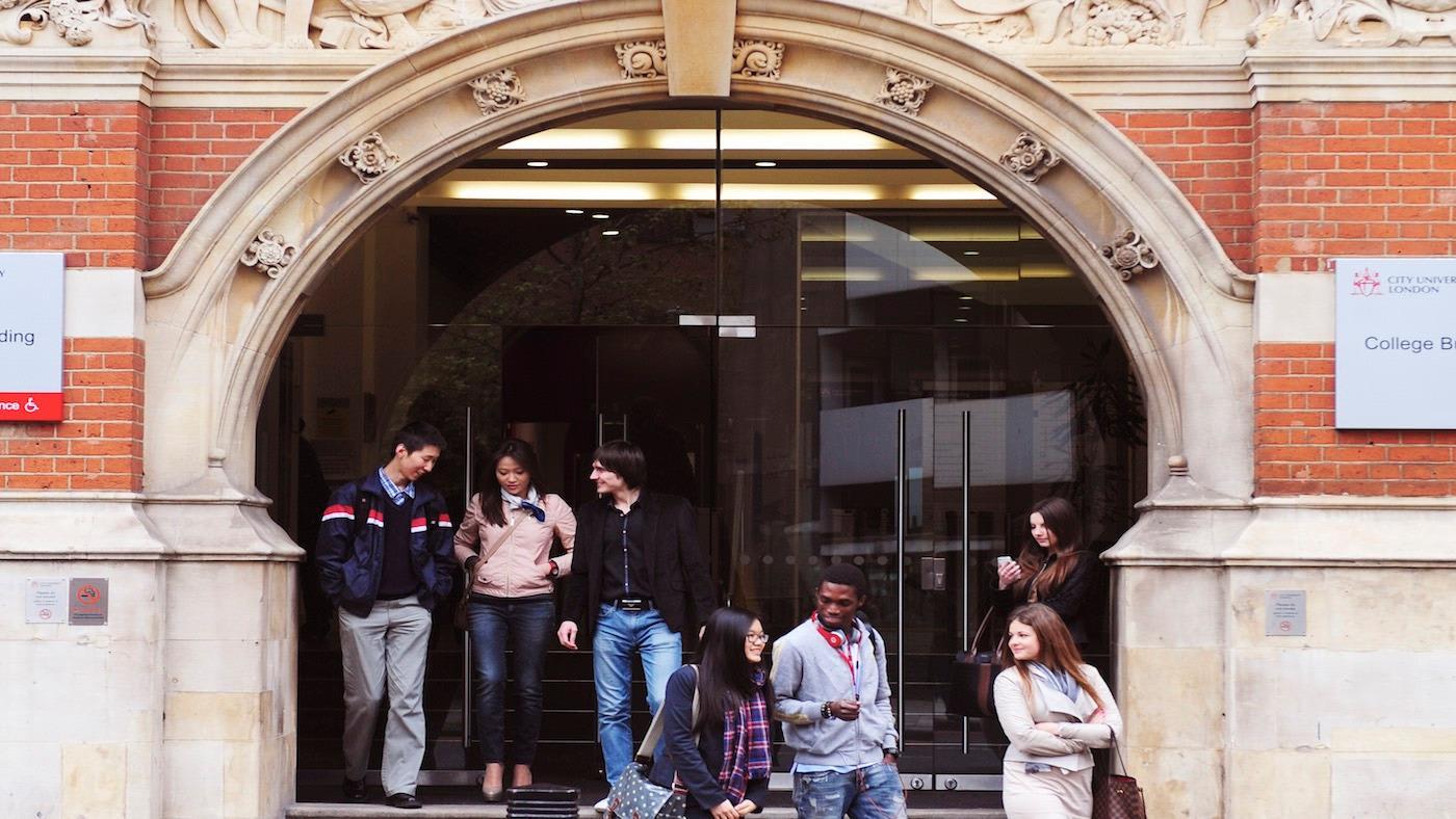 Students outside INTO City University London