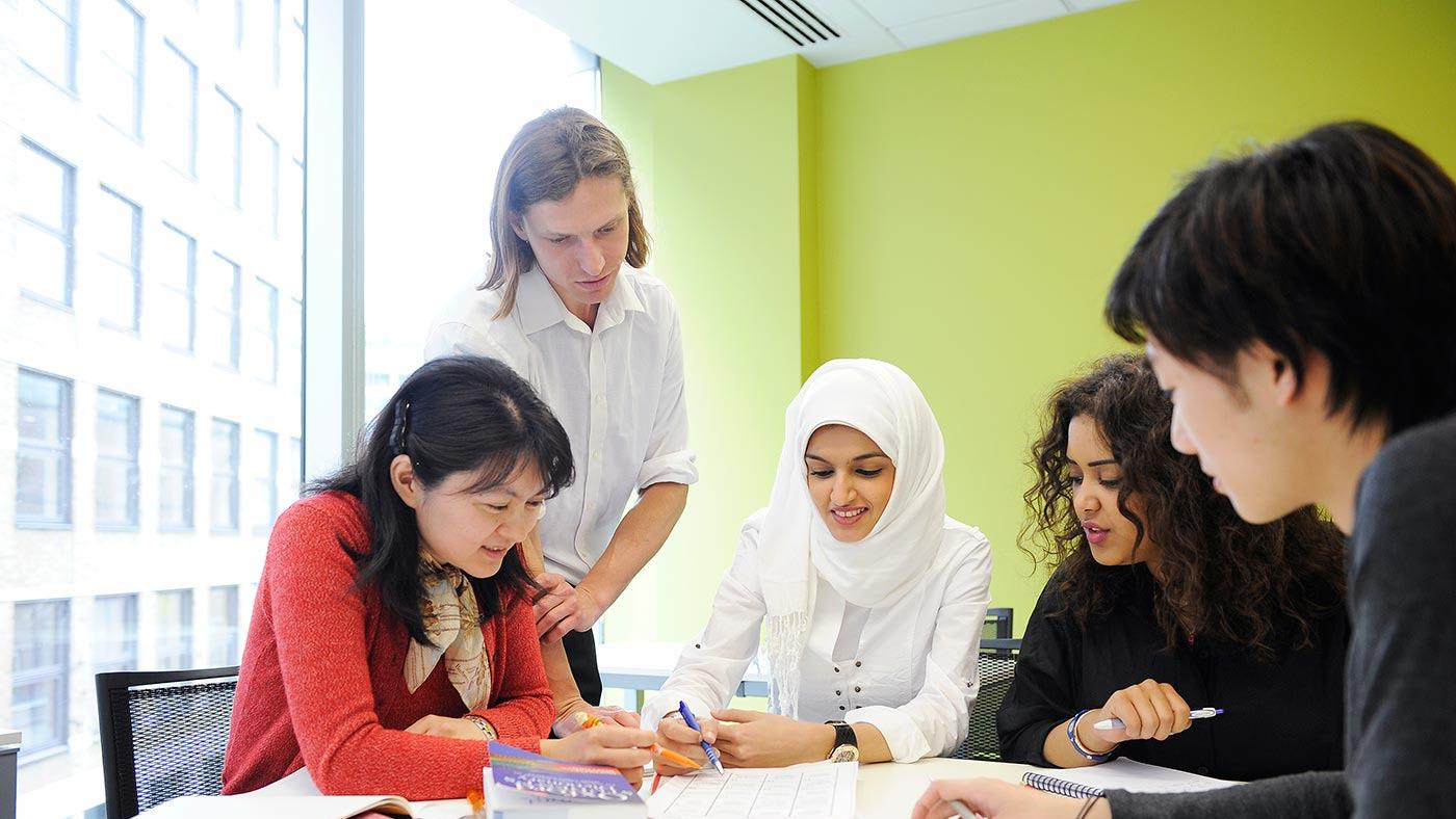 Students and teacher in class at City University London