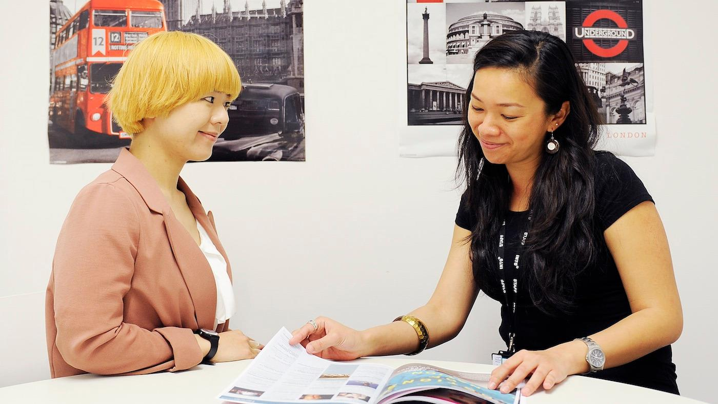 Teacher and student at INTO City University London