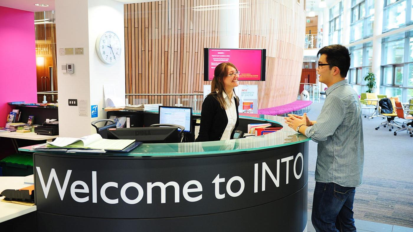 Reception area at INTO Exeter