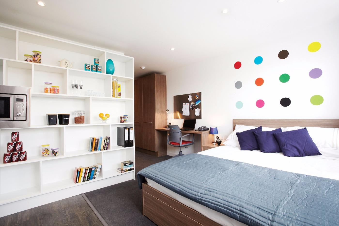 Bedroom Interior Of Student Accommodation At INTO GCU