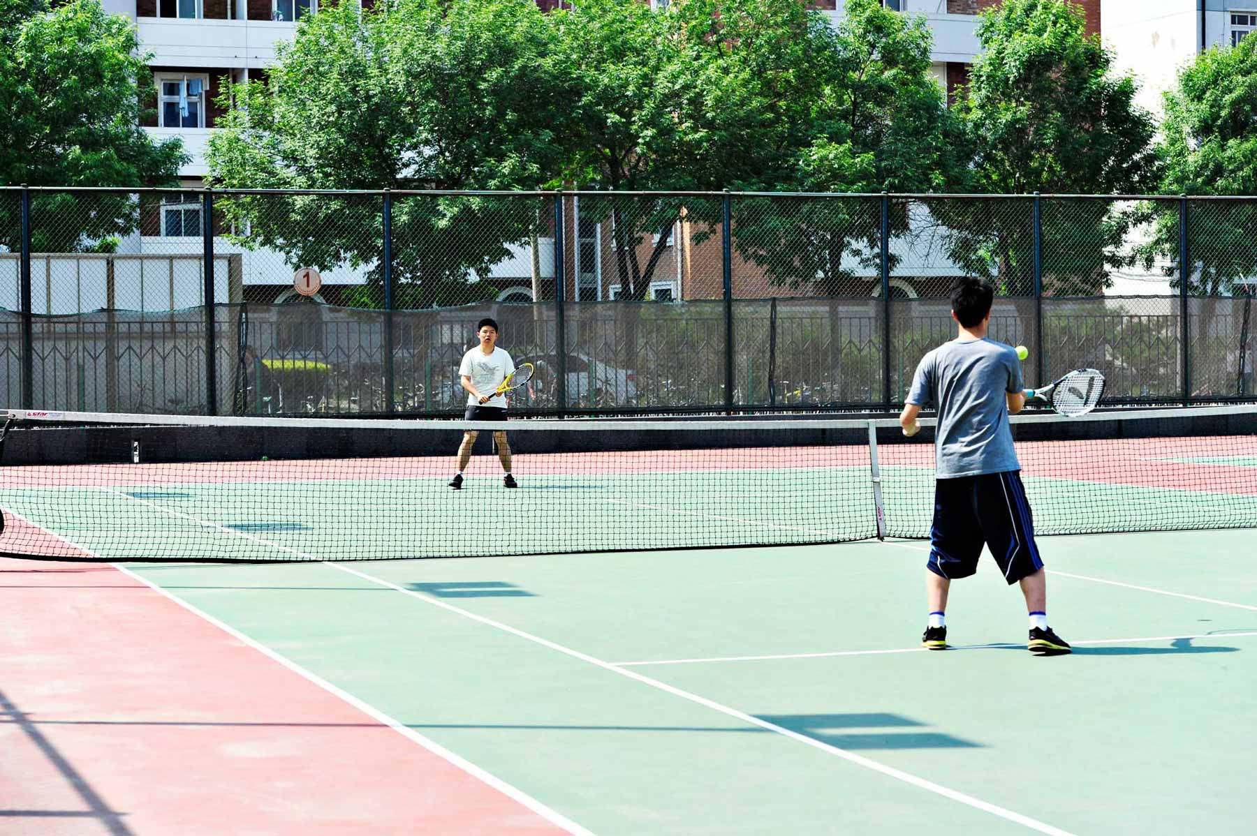 There are indoor and outdoor sports courts