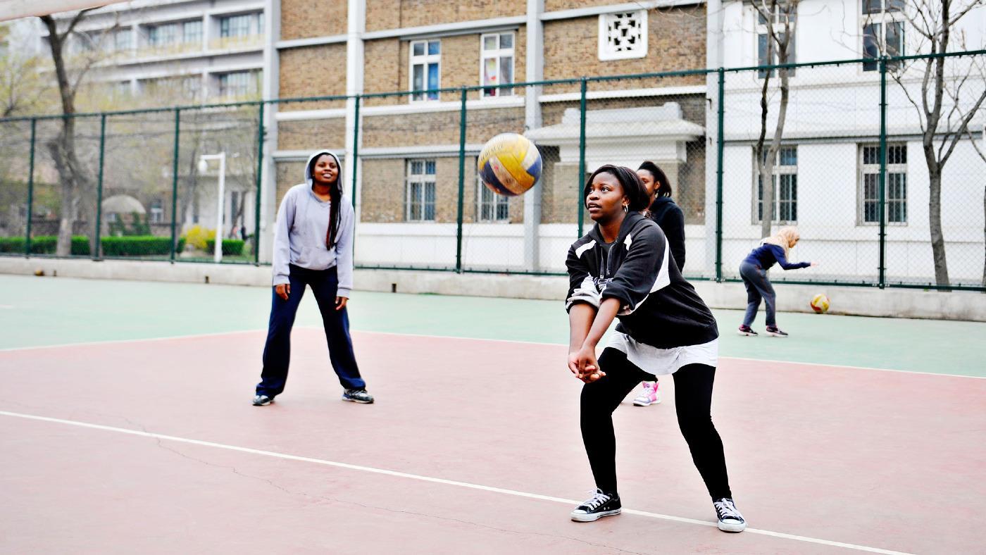 Nankai students playing volleyball