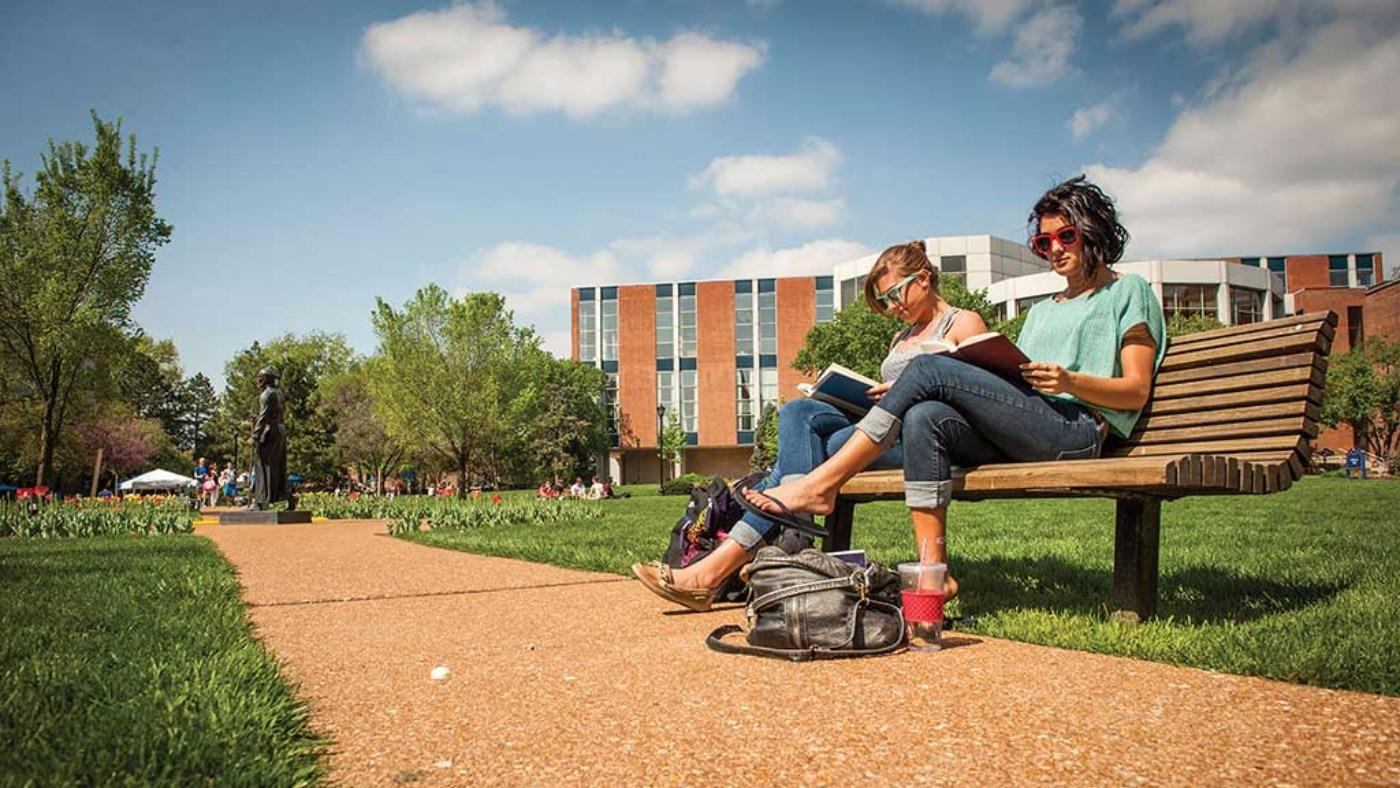 INTO students studying in the sunshine in the US