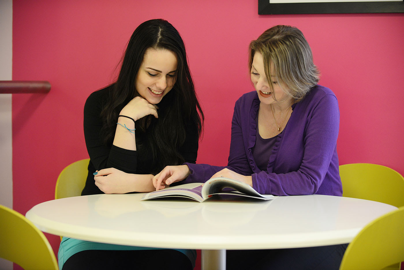 Alessandra Barbosa studying with Helena Martin, INTO student support at INTO UEA