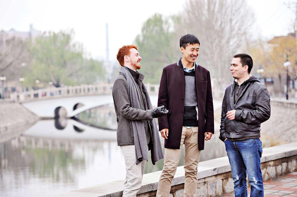 Postgraduate students on campus
