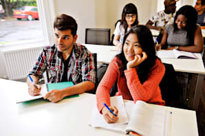 Students taking an English exam